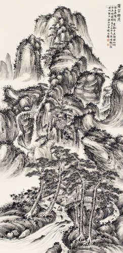 錢瘦鐵(1897 - 1967)黃山松雲 水墨紙本 鏡心