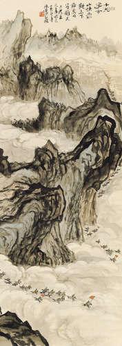 陸儼少(1909 - 1993)快馬加鞭 設色紙本 立軸