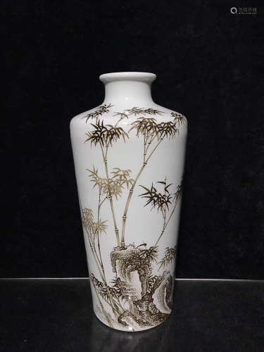 A DAQINGYONGZHENGNIANZHI MARK INK COLOR BAMBOO PATTERN VASE