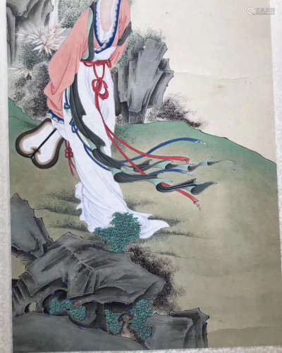 WATERCOLOR PAINTING HAND SCROLL OF GULUO SIGN