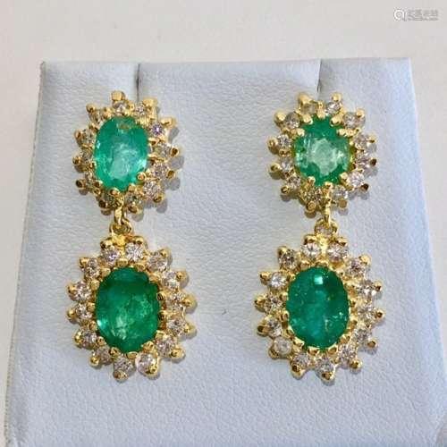 14K Yellow Gold Emerald Diamond Earring EST VALUE $9900