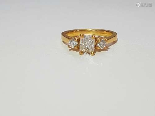 14K Yellow Gold and VVS White Diamond Ring