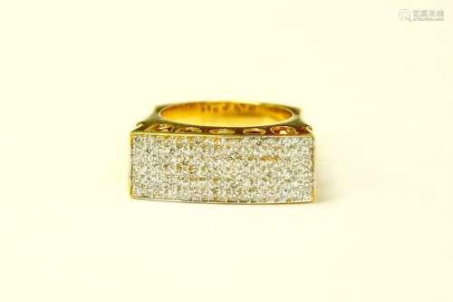 BIG 18K Yellow Gold Diamond Cluster RING