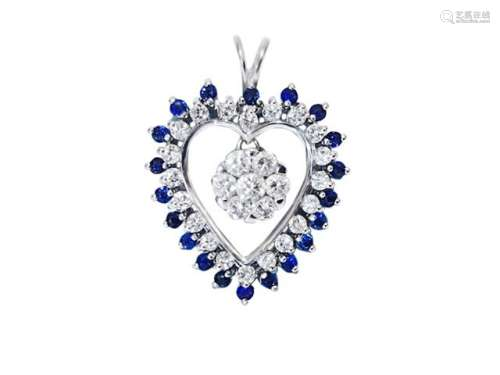 18k British Hallmark White Gold Diamond Pendant