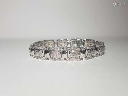 5.00 Carat Diamond Unisex Bracelet in 14K White Gold