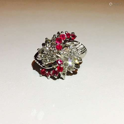 14K White Gold, 3 Ct Diamond & Burma Ruby Cluster Ring