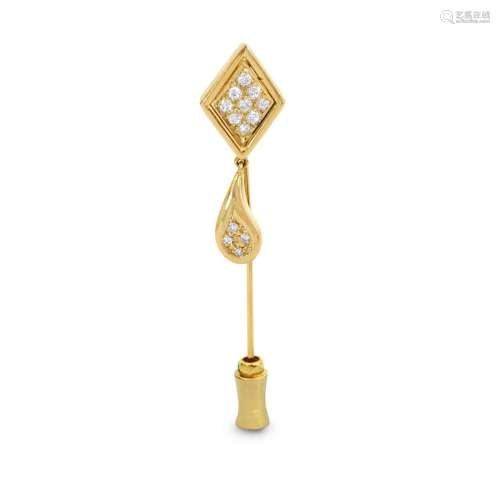Vintage/Ancient Collectible 14K Gold and Diamond Pin