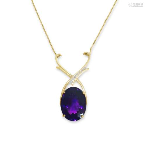 14K Gold 35 carat Amethyst & Diamond Pendant / NECKLACE