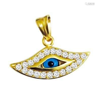 Evil Eye Pendant. 18k GOLD 1.00 CARAT VVS DIAMOND