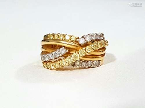 14K Gold Criss Cross Ring FANCY Yellow & White Diamonds