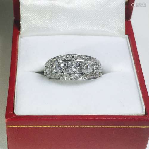 Vintage 18K White Gold and Diamond Ring (GIA)