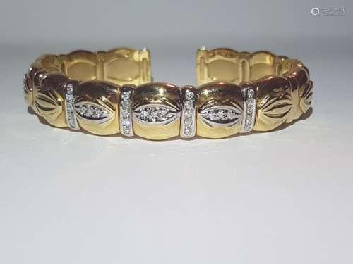 Cartier Style Bracelet, 14K Yellow Gold and Diamond