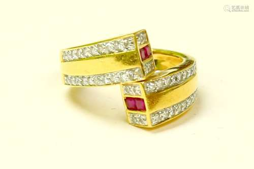 18k Gold High quality Diamond And Burma Ruby Ring