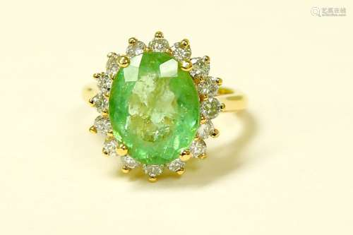 14k Yellow Gold Diamond Emerald Ring