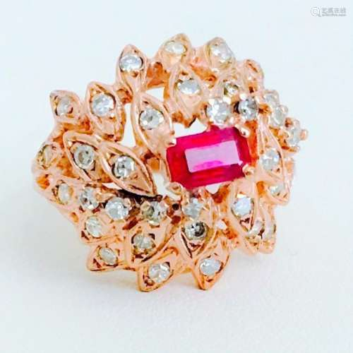 2.00 Carat Diamond and Ruby in 18K Rose Gold Ring