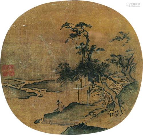 佚名 山水 团扇(镜框) 绢本