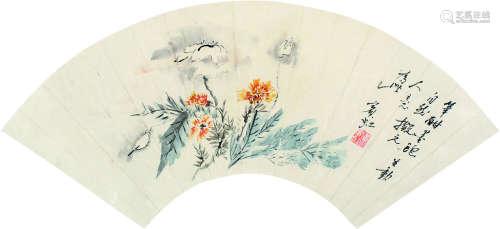 黄宾虹 花卉 扇片 纸本