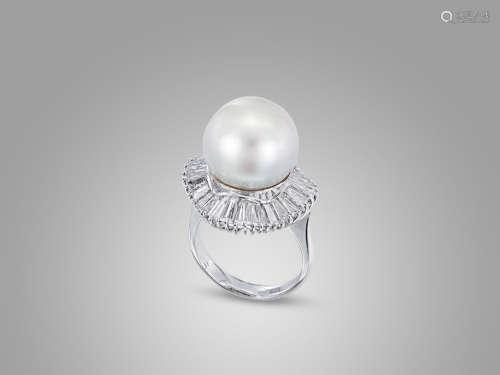 珍珠鑽石戒指鑲鉑金