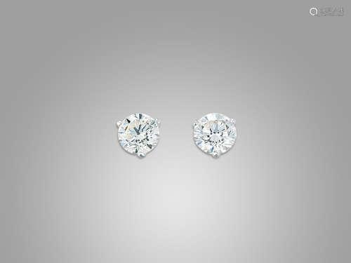 鑽石耳環鑲18K白金(2)