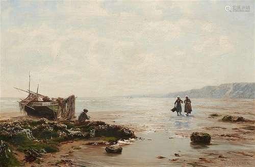 Eduard Spoerer, Breton Coastal Scene with a Fisher and Mussel Gatherers