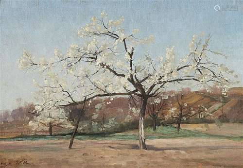 Jean François Millet, attributed to, A Flowering Apple Tree