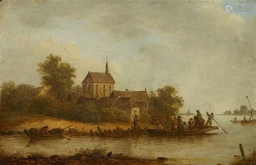 Adam Pynacker, attributed to, River Landscape with a Village and Ferry