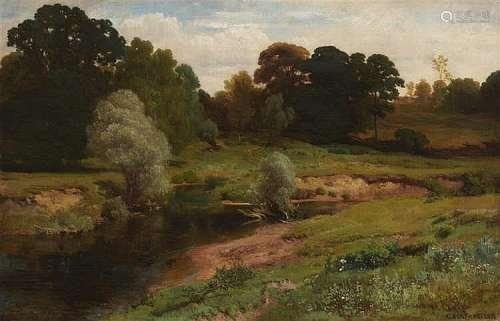 Albert von Keller, Wooded Landscape with a Stream