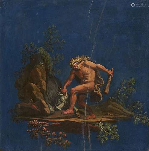 Italian School 18th century, Hercules Wrestling with the Cretan Bull