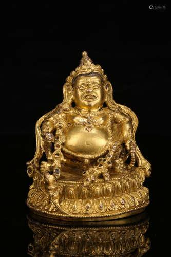 铜鎏金 黄财神