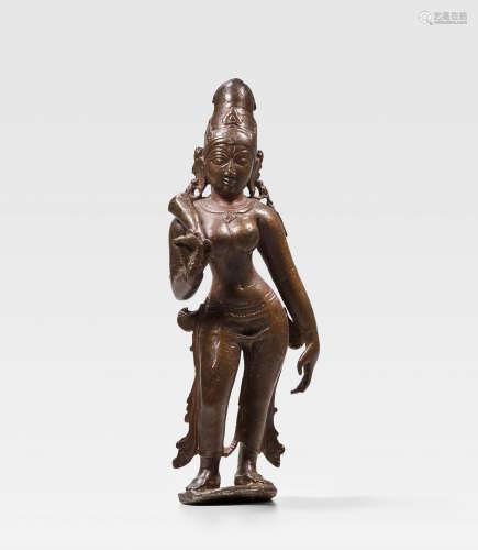 TAMIL NADU, CHOLA PERIOD, CIRCA 12TH CENTURY A COPPER ALLOY FIGURE OF BHUDEVI