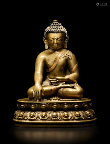 CENTRAL TIBET, 13TH CENTURY A COPPER INLAID BRASS ALLOY FIGURE OF BUDDHA