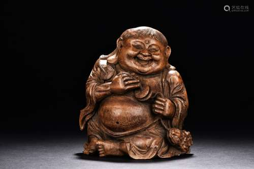 A Bamboo Carved Figure Of Liuhai And Toad