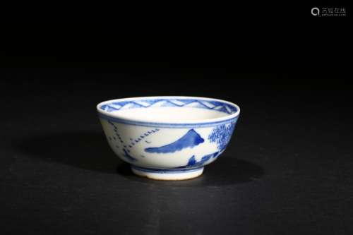 A blue and white landscape bowl