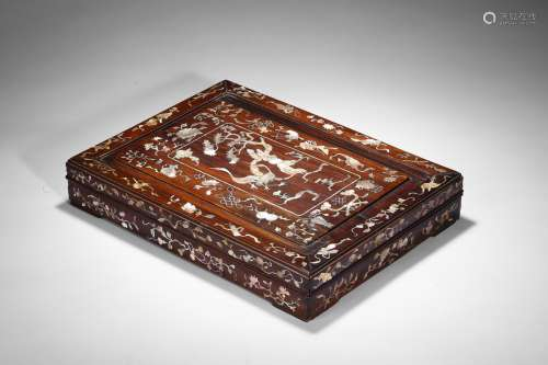 A rosewood 'double crane' mother of pearl box