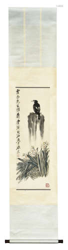 QI BAISHI: INK AND COLOR ON PAPER PAINTING 'BIRD AND FLOWERS'