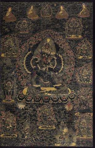 TIBET, 18TH CENTURY A BLACKGROUND THANGKA OF VAJRABHAIRAVA