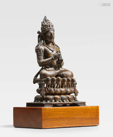 SWAT VALLEY, 8TH/9TH CENTURY A SILVER INLAID COPPER ALLOY FIGURE OF VAIROCANA