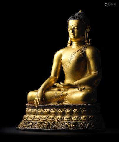 KHASA MALLA, 13TH/14TH CENTURY A GILT COPPER ALLOY FIGURE OF SHAKYAMUNI BUDDHA