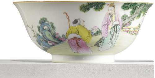 A FAMILLE-ROSE 'FIGURAL' BOWL QING DYNASTY, 19TH CENTURY