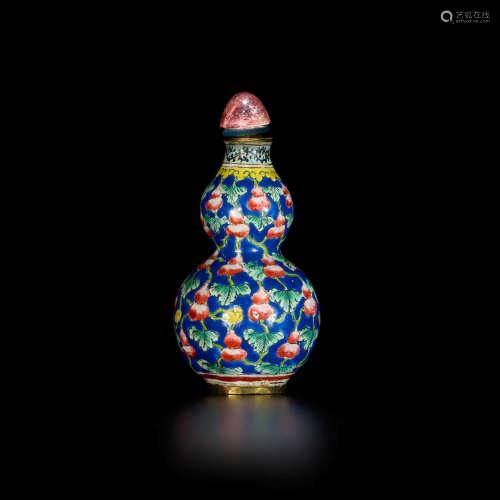 Qianlong mark An Enamel on copper double gourd snuff bottle