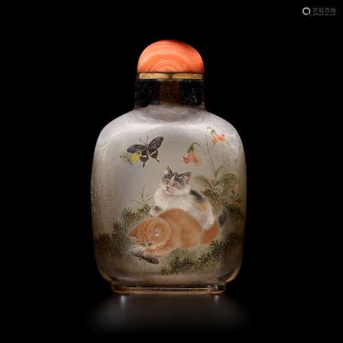 Wang Xisan, 1971 AN INSIDE PAINTED SMOKY QUARTZ SNUFF BOTTLE