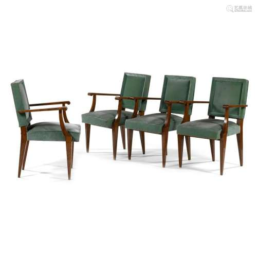 JACQUES QUINET (1918-1992)RA set of four mahogany armchairs, green velvet upholstery. (An armrest sticking-out, stained velvet, super
