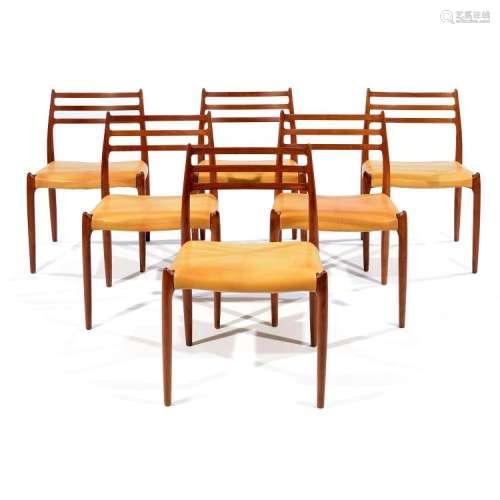 NIELS OTTO MØLLER (1920-1981) Suite de six chaises