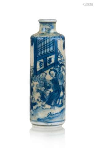 9. BLUE AND WHITE SNUFF BOTTLE,19TH CENTURY