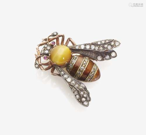 """Fabergé-Brosche \Biene\"""" verziert mit einem Tigerauge, Diamanten und Email"""""""