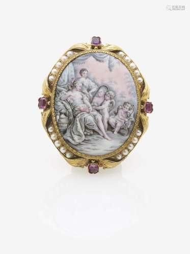 Brosche mit Miniaturmalerei, Rubinen und Perlen
