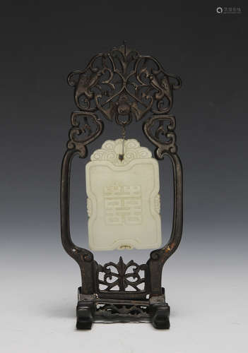 WHITE JADE PLAQUE W/ WOOD STAND, 19TH CENTURY