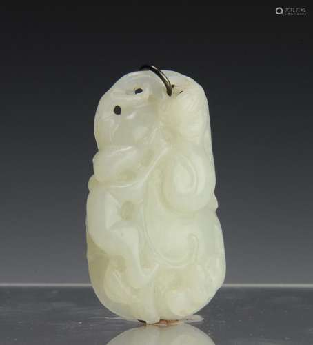 CHINESE CARVED WHITE JADE TOGGLE, 19TH CENTURY