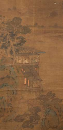 Zhao Mengfu Landscape Painting with Pavilion and figures