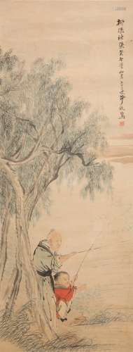 Painting of Willow trees along the riverbank by Sha Fu